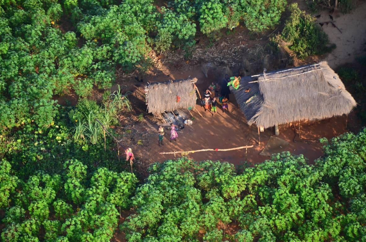 Podemos ver algunas aldeas diminutas, totalmente rodeadas de selva.