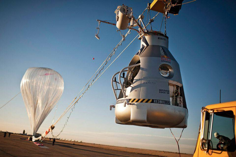 Capsula y globo de Felix Baumgartner